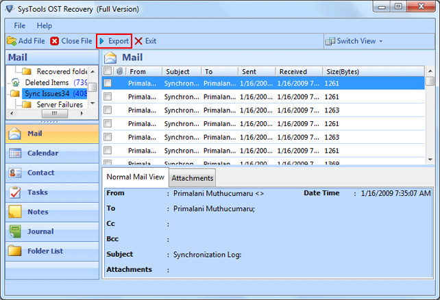 Convert OST to PST Outlook 2007 screenshot